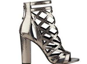 715f8f08d43  110 Guess Women s Eriel High Heels Pewter Cage Sandals Size 9.5