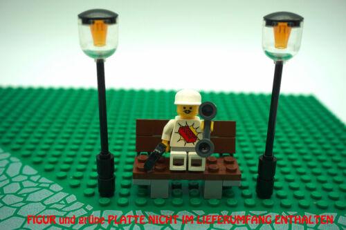 L1251 Lego® 2 x Straßenlaterne 1 x Bank Garten Parkbank Park Strasse Laterne