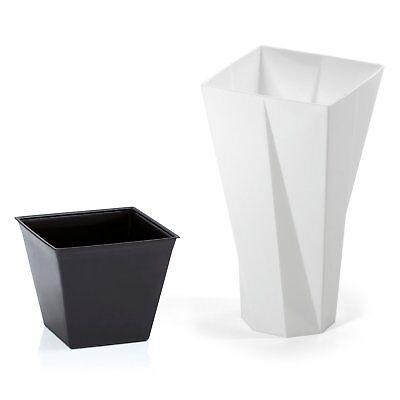 Sezione Speciale Bianco Moderno Alto In Plastica Fiore Pianta Pot Wear Resistente Allo Strappo 27 Cm Alto + Ins- Disponibile In Vari Disegni E Specifiche Per La Vostra Selezione