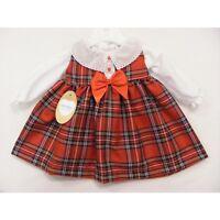 Gorgeous Baby Girl's Spanish Red Tartan Dress/Long Sleeves/Blouse/0-3M to 18M
