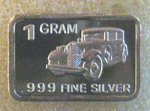 "Best Junk Drawer 1 Gram .999 Fine Solid Silver Bullion Art-Bar: "" VINTAGE AUTO """