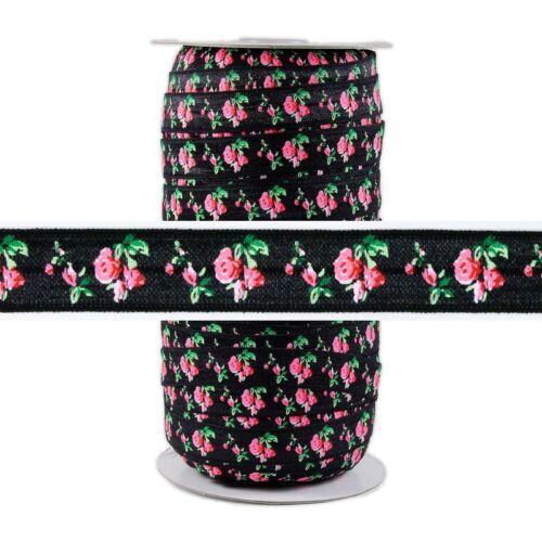 FOE 100 Yard Spool Fold Over Elastic 5//8in Wide Roses on Black