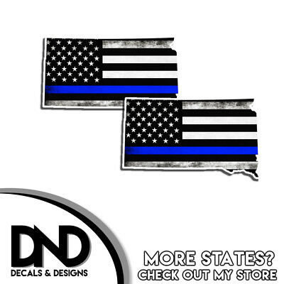 "5/"" ND North Dakota State Thin Blue Line Tattered American Flag Police Sticker"