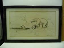 Vintage Pen & Charcoal Drawing Robert Mayokok Polar Bear Wood Frame Signed