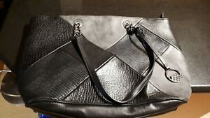 david jones paris hand bag fax leather,  black.