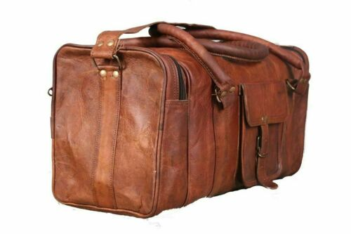 New Genuine Leather Duffel Men/'s Overnight Carry-On Travel Luggage Gym Bag