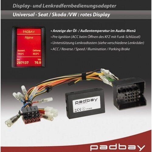 skoda 41-1324-604 padbay volant télécommande adaptateur sony pour seat vw