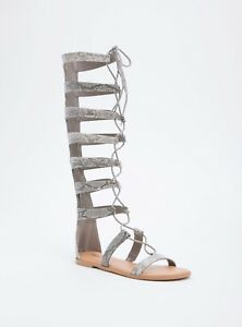 a7fc1fc1249b Details about Torrid Faux Snake Skin Lace Up Knee High Gladiator Sandals  Wide Width 13  80541