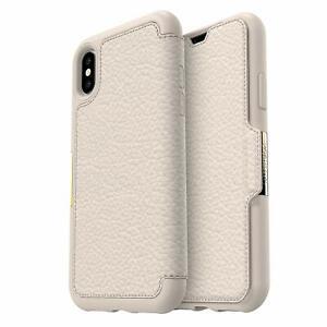 Genuine-OtterBox-iPhone-XS-X-Strada-Leather-Wallet-Folio-Case-Cover-Beige-White