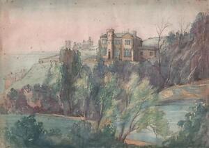 ST-LEONARDS-ON-SEA-LANDSCAPE-Victorian-Watercolour-Painting-LOUISA-MACKAY-1848
