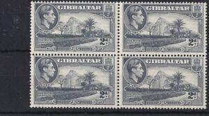 BC623-Gibraltar-1940-KGVI-2d-Grey-perf-13-block-of-4-MUH-CV-for-MH-36