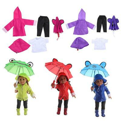 6pcs Clothes Set T-shirt//Pants//Shoes//Hat//Raincoat//Umbrella  for 18 inch Doll