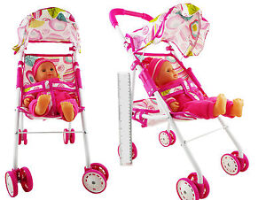 """Set Of Dolls Buggy Stroller Pram Pushchair with 14"""" Crying Baby Doll Girls Toy  5053164008400"""