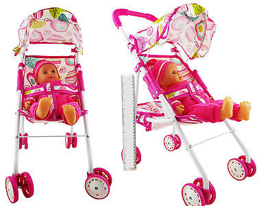 "Set Of Dolls Buggy Stroller Pram Pushchair with 14"" Crying Baby Doll Girls Toy"