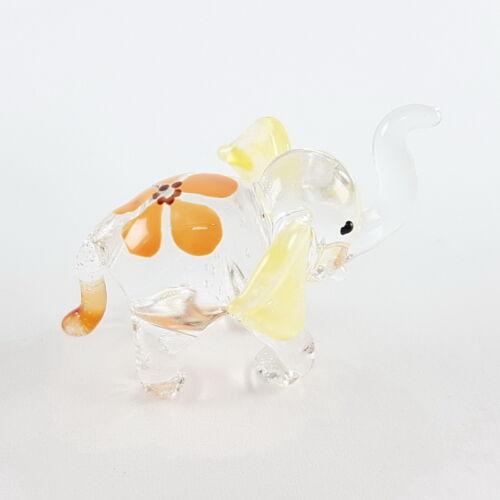 yellow elephant blown glass handmade figurine dollhouse tiny animals miniature