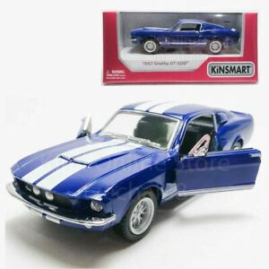 Kinsmart-1-38-DIE-CAST-1967-Shelby-GT500-Coche-Azul-Modelo-Con-Caja-De-Coleccion