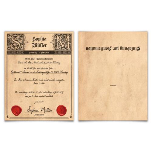 Konfirmation Einladungskarten Konfirmationseinladungen Einladungen Siegelbrief