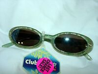Foster Grant Small Sunglasses Club Med Clear Green Flower Plastic Brand