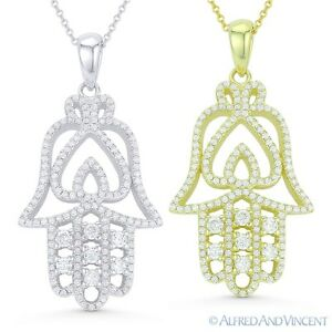 Hamsa-Hand-of-Fatima-amp-Spade-Luck-Charm-925-Sterling-Silver-Pendant-amp-Necklace