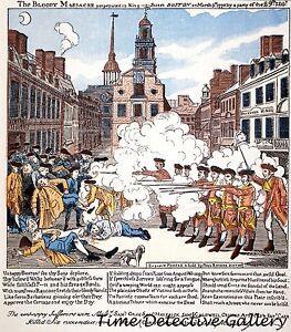 graphic of the boston massacre by paul revere historic art print