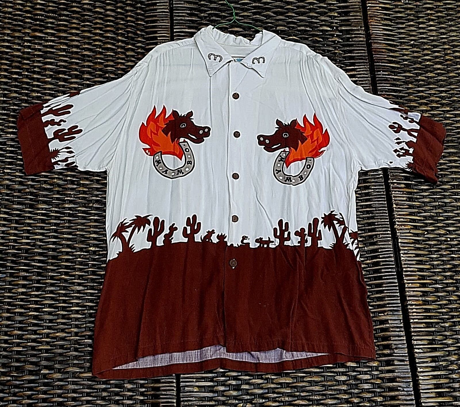 MAMBO LOUD SHIRT LARGE HORSEHEAD FLAMES BLAZE & HORSESHOES ROPING WILD HOGS