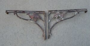 Large-Antique-Cast-Iron-adjustable-brackets-FIGURAL-CAMELS-Very-Unusual