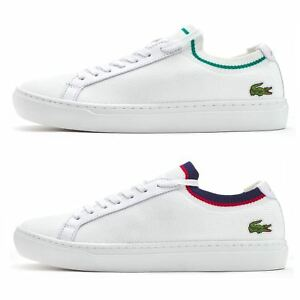 9d75526027049 Details about Lacoste La Piquee 119 1 CMA Lace Up Textile Trainers in White    Green   Blue