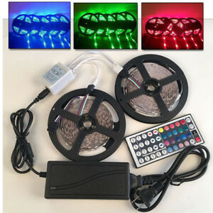 10M-5050-RGB-Led-SMD-Flexible-Light-Strip-Lamp-44-key-Remote-12V-6A-Power-Supply