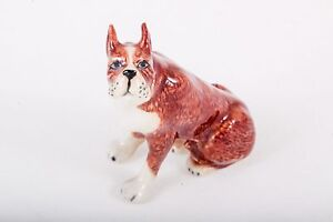 Tiny Boxer Ceramic Handmade Figurine Dog Animals Miniature Decor Gifts Souvenir