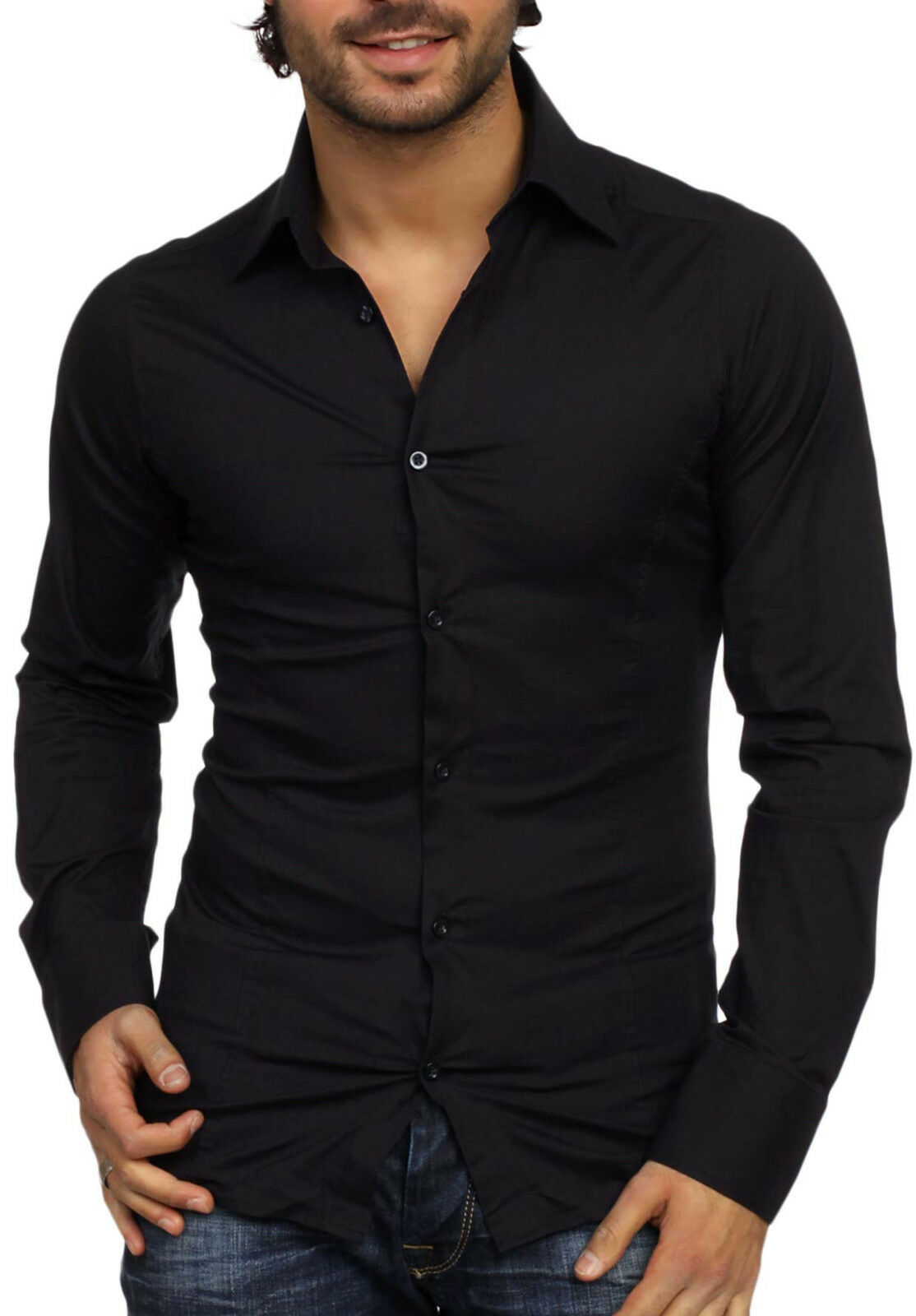 Nera - Black Long Sleeved Shirt Fashion for Man