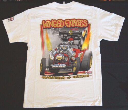 MARCELLUS /& Borsch Winged EXP LON Nostalgique Drag Racing écran T-shirt imprimé