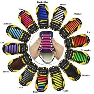 16 Stück Silikon Elastische Schnürsenkel Flach Schuhbänder