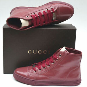 GUCCI-New-Womens-High-Top-Sneakers-sz-39-G-9-5-Ankle-Logo-Shoes-Boots-Tibet-Red