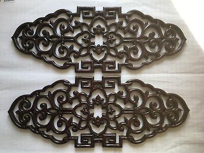 Ein Paar China - Geschnitzter Holzdekor Mit Glück-symbol Und Flor.