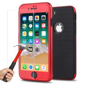 Coque-Case-360-Armure-Antichoc-Luxe-iPhone-6S-6-7-Plus-8-X-Ecran-Verre-trempe