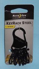 KEY RACK BLACK STEEL KEYCHAIN KEYRING CARABINER CLIP & 6 S BINER CLIPS NITE IZE
