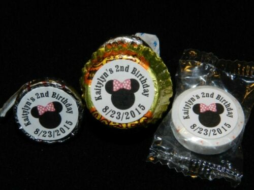 108 PERSONALIZED MINNIE MOUSE PARTY FAVOR CANDY WRAPPERS HERSHEY/'S KISS LABELS