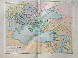 Antique-map-Southeast-Europe-and-Asia-during-the-crusades-crusader-1897