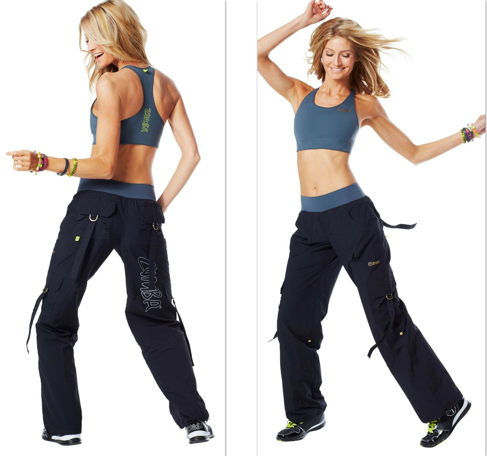 ZUMBA 2PC.SET  CARGO PANTS-Congreens To Capris wSnaps + BRA TOP GorgeousRare S M