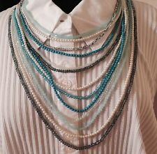 """New White House Black Market Faux Pearl Blue Crystal Multi Strand Necklace 28"""""""