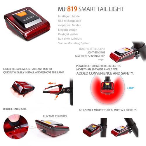 MagicShine MJ-819 4 Mode Smart Red LED Tail Light Built-in USB Rechargable Batt