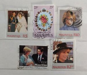 8-x-MAURITIUS-stamps-ROYAL-WEDDING-1981-amp-Lady-Diana-amp-3-other-Royal-Stamp-24A