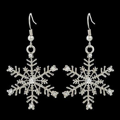 Christmas Snowflake Flower Hook Dangle Earrings Clear Austrian Crystal Silver GP