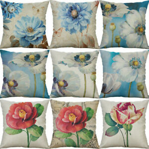 Home-Cotton-Linen-Printed-18-034-Decor-Pillow-Cases-Cushion-Cover-Sofa-Blue-Flower