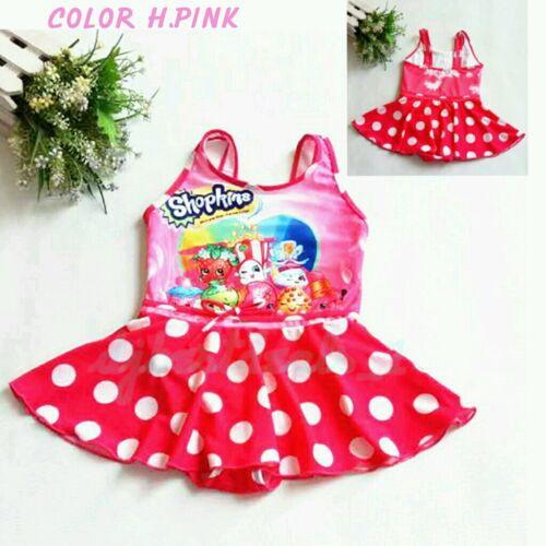 New Kids Girl/'s Cartoon Print Shopkins Girls Swimsuit One piece Dress 4T-10