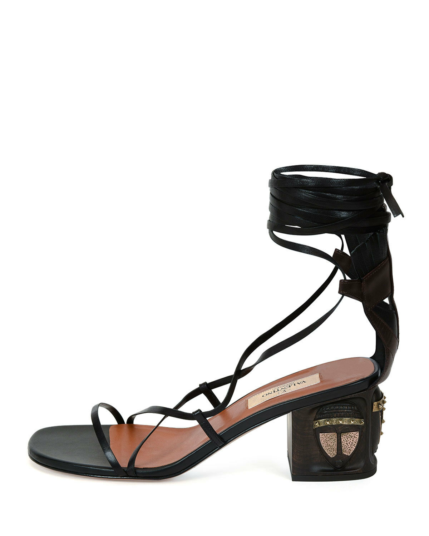 1595 VALENTINO Mask Heel Lac Up Leather Gladiator  Sandal scarpe 38 nero   Marronee  liquidazione fino al 70%