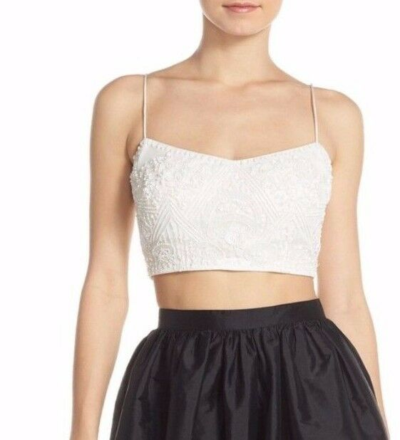 NWT Adrianna Papell Embellished Crop Ivory TOP ONLY [SZ 8]