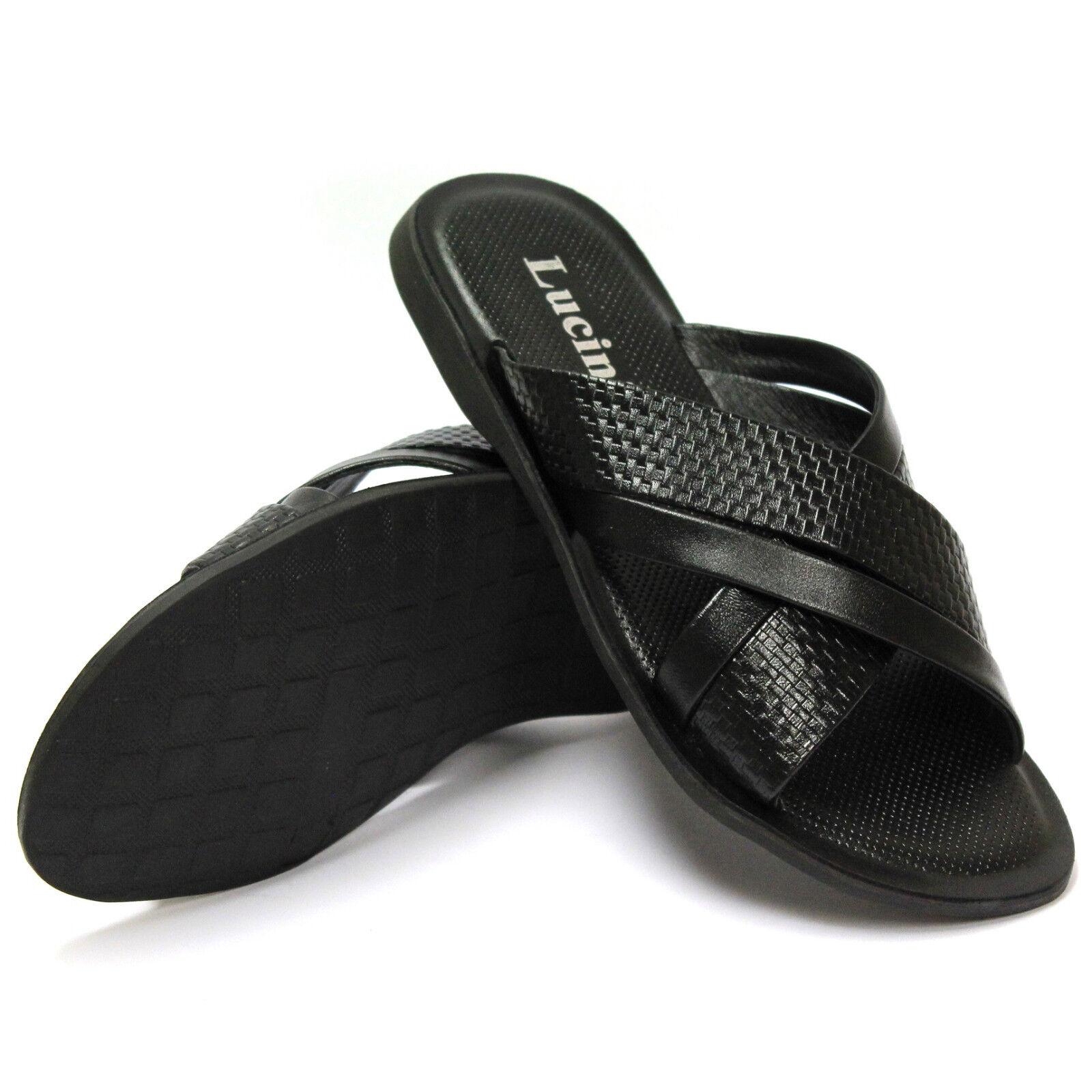 BRAND NEW LUCINI SUMMER SLIP ON BEECH MEN'S LEATHER STRAPS SANDALS 62540 - BLACK