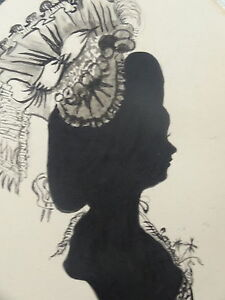 Dessin Encre Silhouette Profil Femme Coiffe Mode Fashion Art Deco