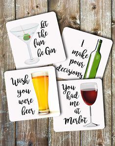 Novelty Drink Coasters Alcohol Puns Set of 4 Non Slip Neoprene